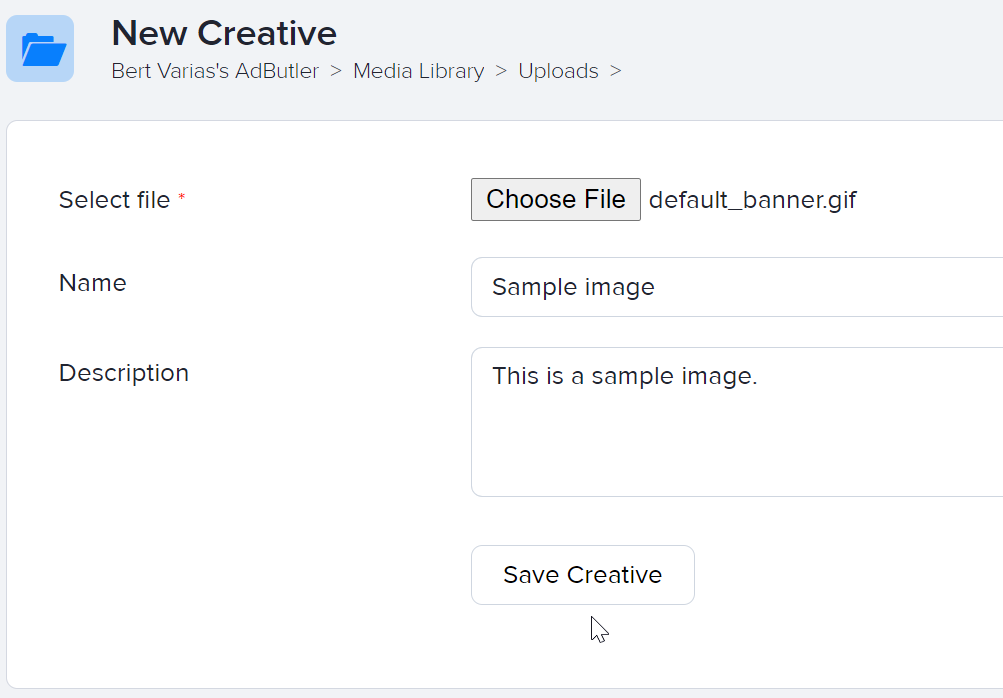 How to upload an image to the Media Library