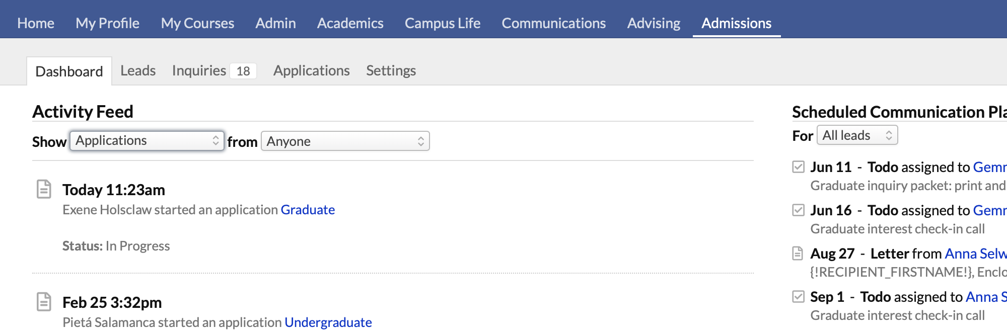the admissions dashboard shows you all admissions related activity including updates to applications filter the dashboard to show applications from your