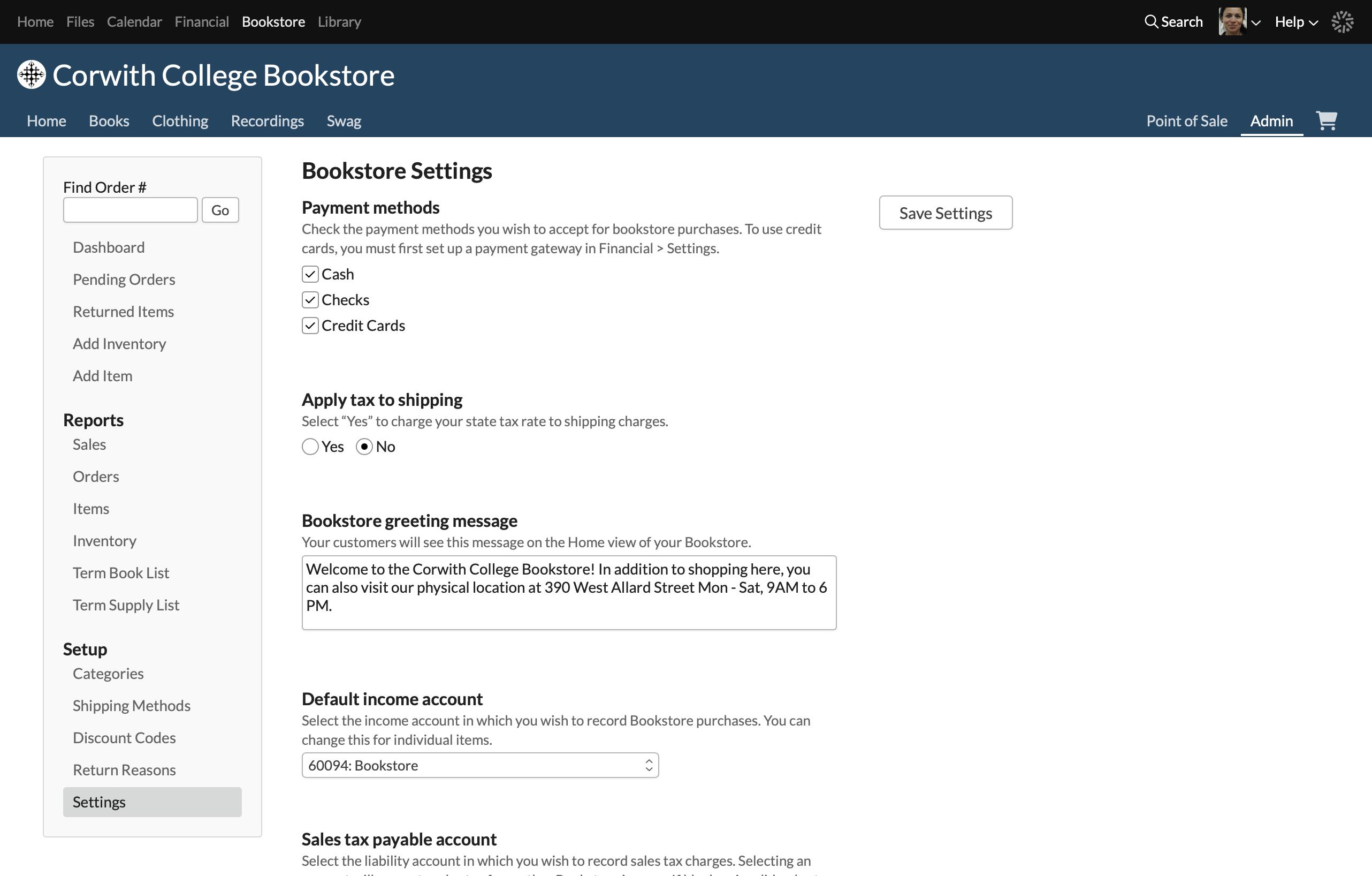 Bookstore Admin – Populi Knowledge Base