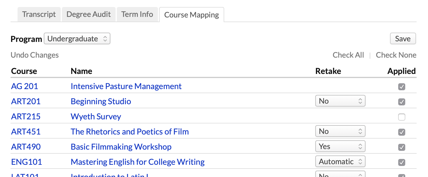 Course Mapping Shows You How The Students Courses Are Being Applied To His Academic Programs Can Use Tool For Example Apply An Undergrad