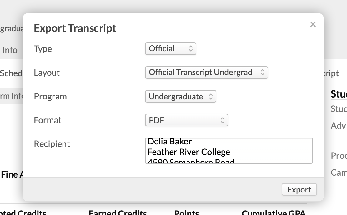 How to view and export student transcripts – Populi