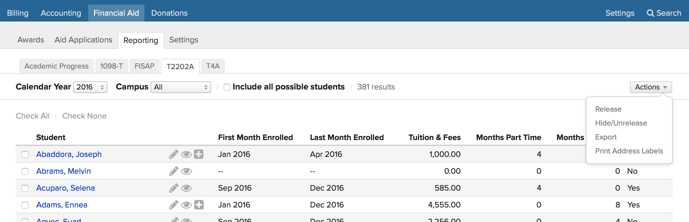 Reporting: Academic Progress, 1098-T, and Canadian tax forms