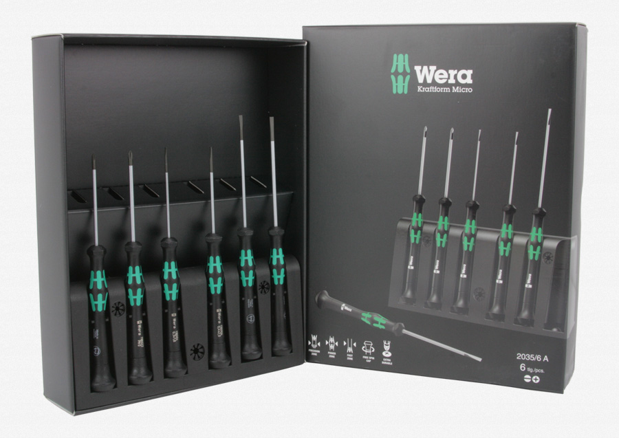 wera 118152 kraftform micro slotted phillips precision screwdriver set rack. Black Bedroom Furniture Sets. Home Design Ideas