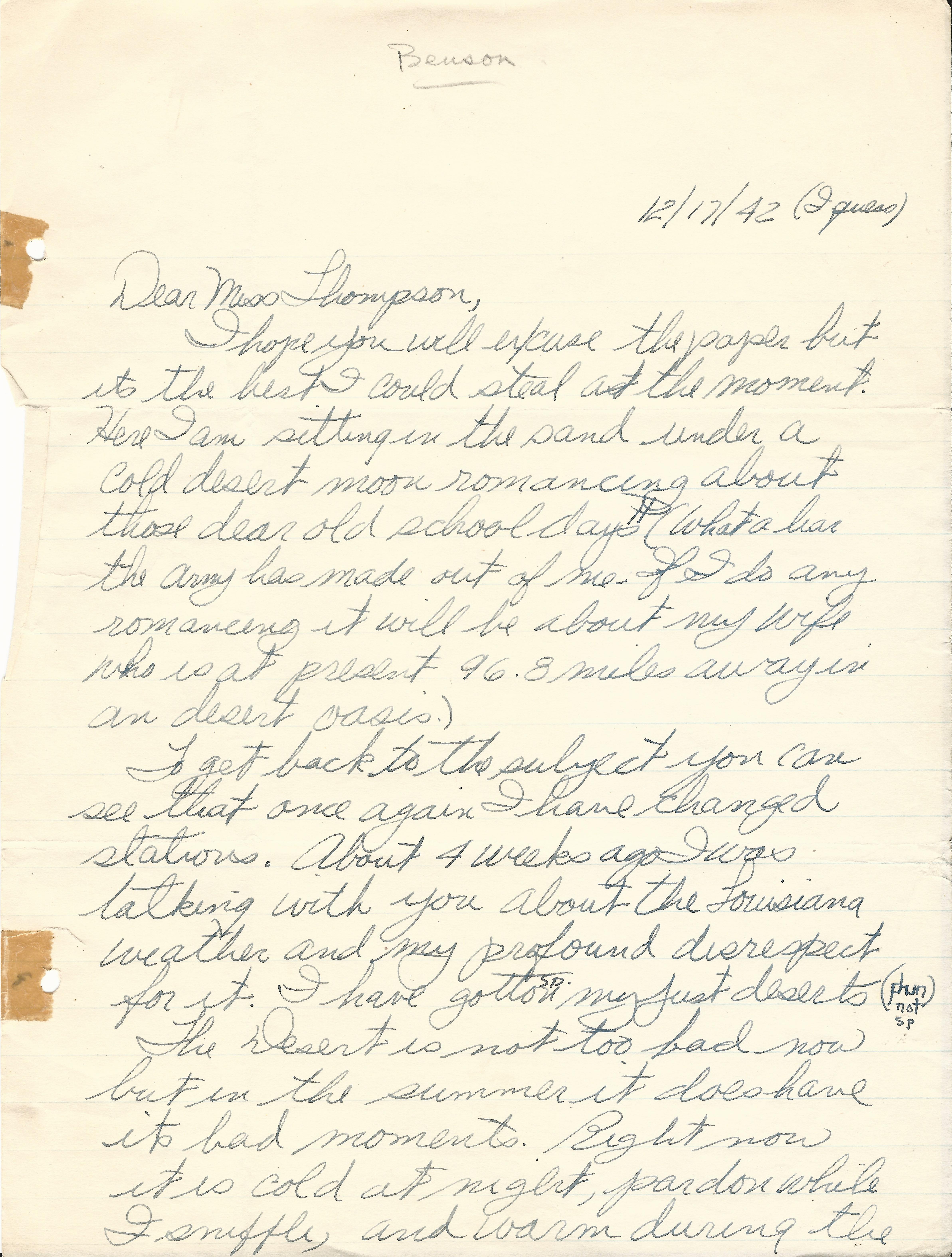 Arthur Benson December 17 1942