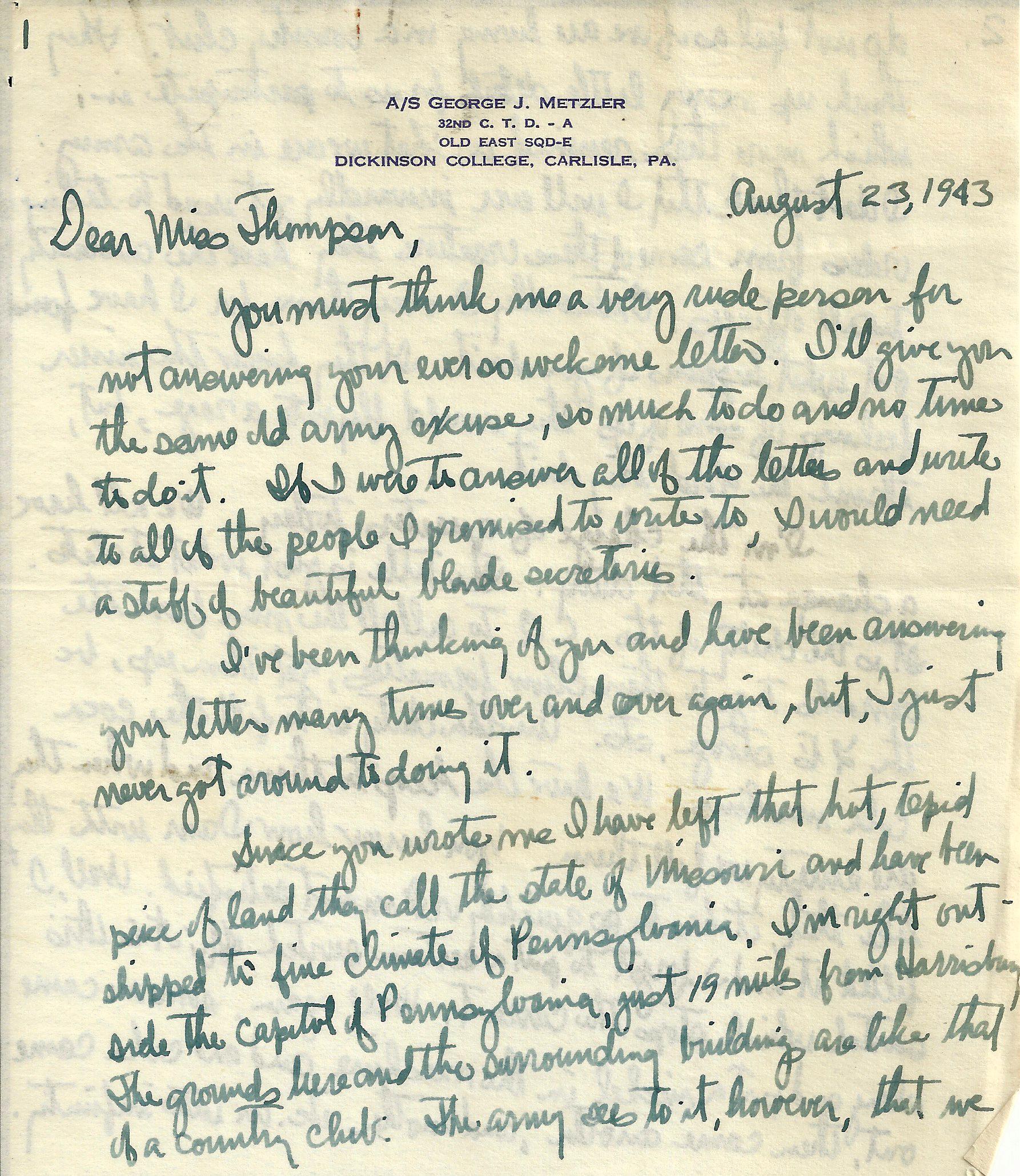 George Metzler August 23 1943