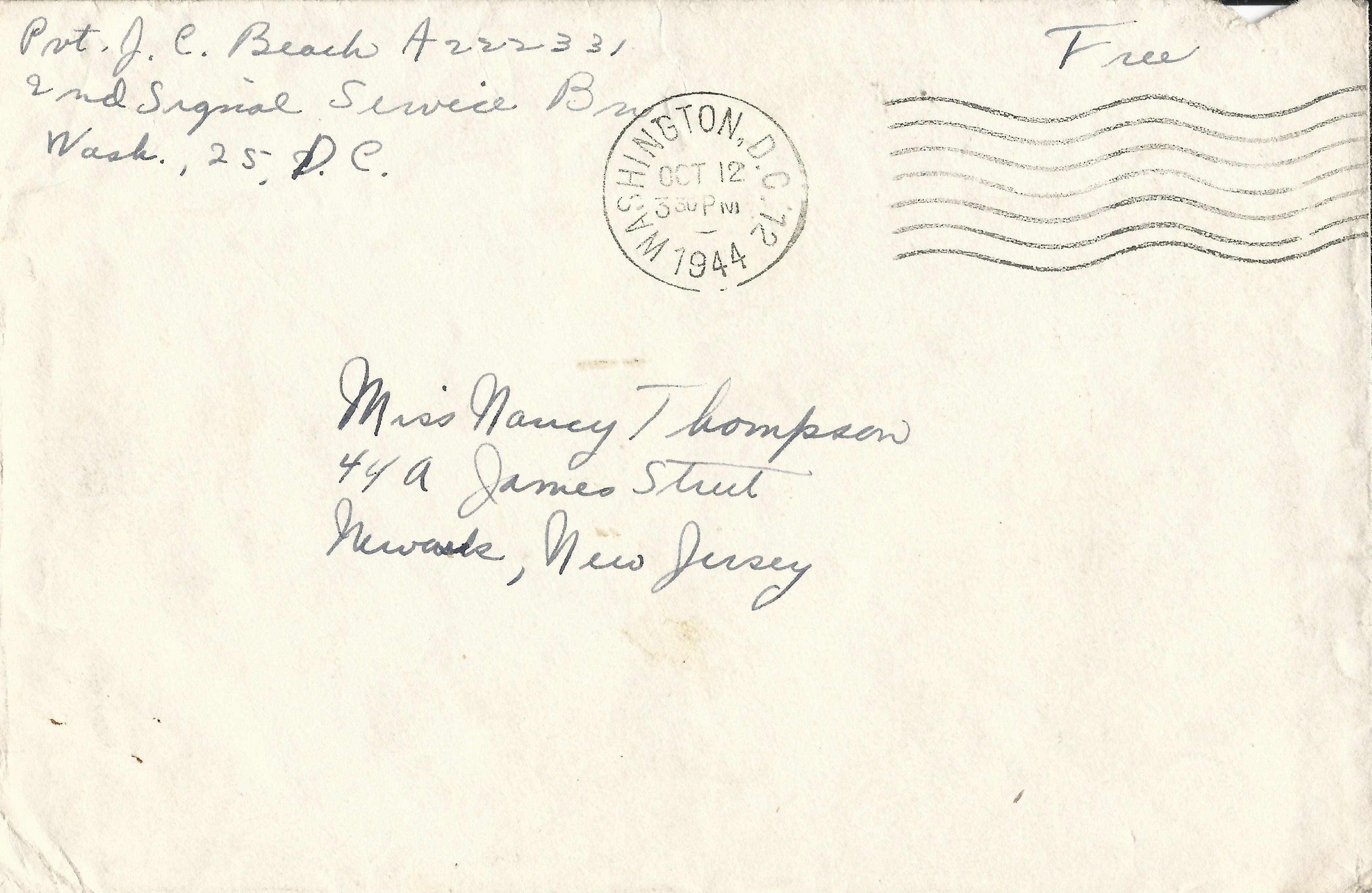 Julia Beach Envelope October 12 1944