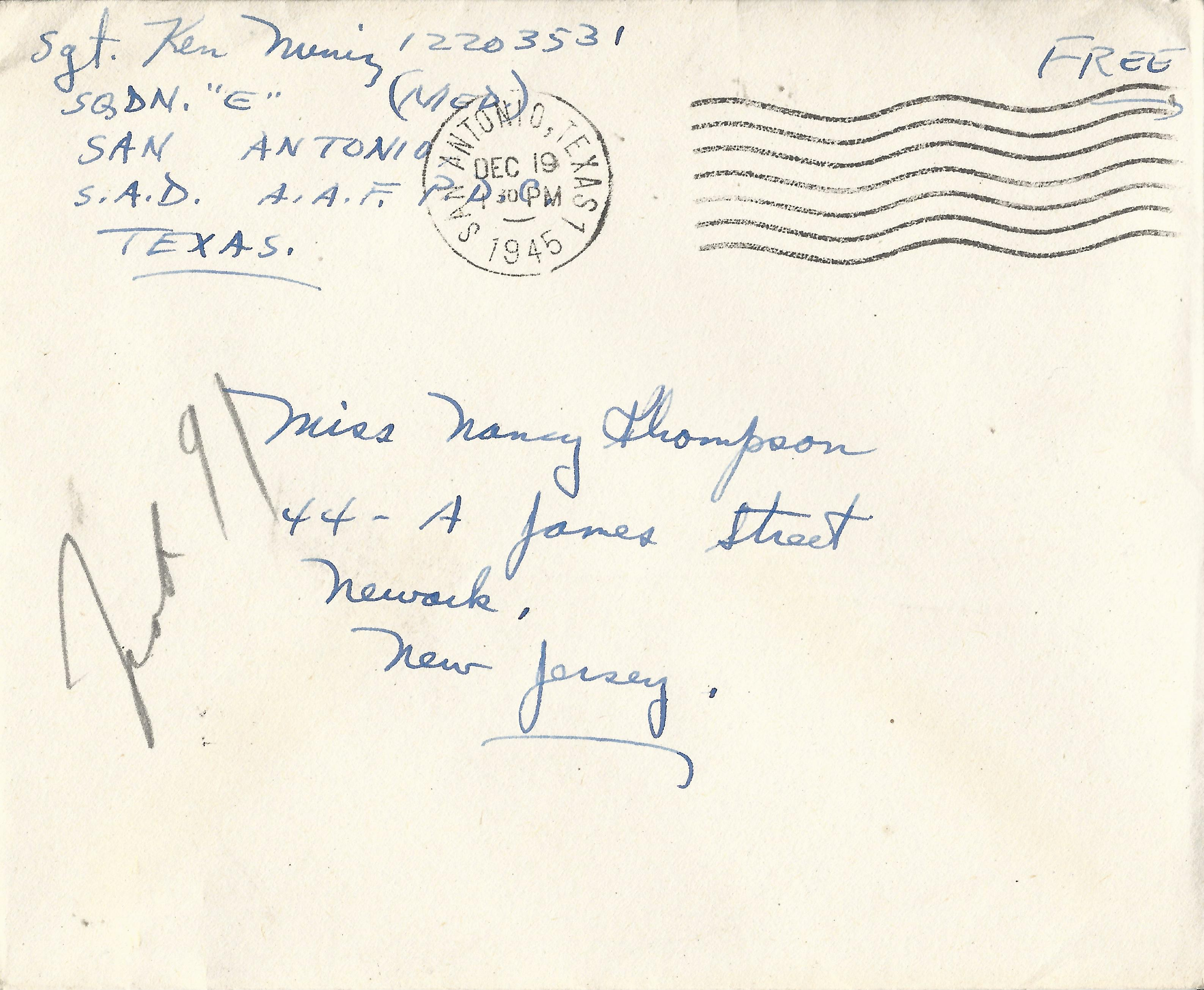 Kenneth Muniz Envelope December 19 1945