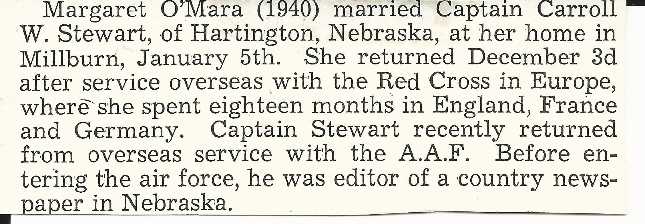 Margaret O'Mara Servicemen's News February 1946 (Incomplete)