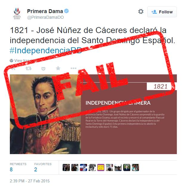 La Primera Dama tuiteó datos de Núñez de Cáceres con una imagen de Simón Bolívar