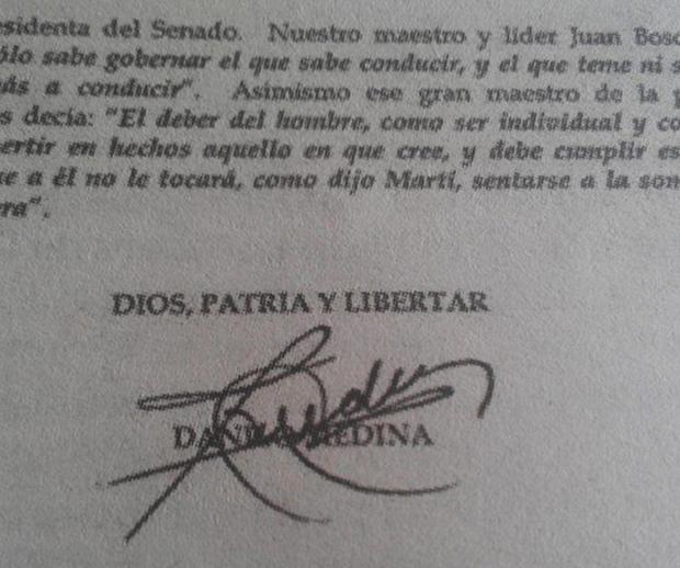 Presidente Medina dirigida a la Senadora Cristina Lizardo