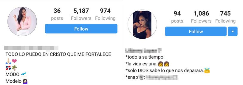 Más perfíles de modelos en Instagram.
