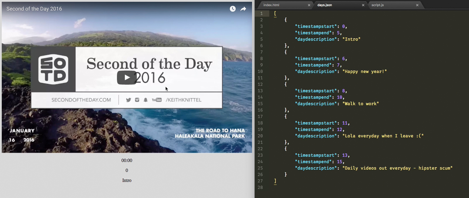 Second of the Day 2017 Proof of Concept using YouTube & Fetch API