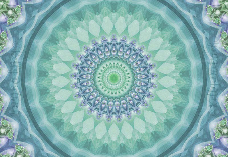 Bright Green and Purple Mandala of Balance