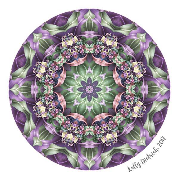 Fractal Ribbon Mandala in Purple, Pink and Green
