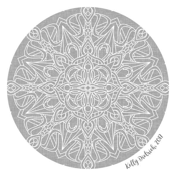 White Mandala on Grey Linen