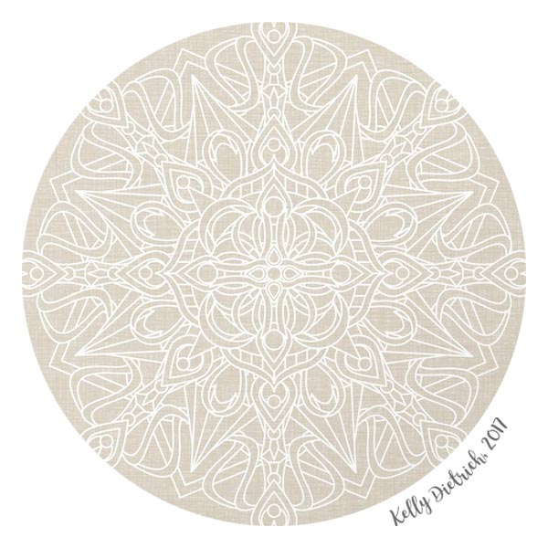 White Mandala on Antique Ivory