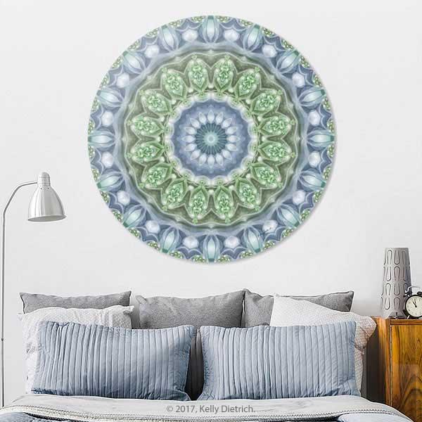 Slate Blue Mandala Disk Print