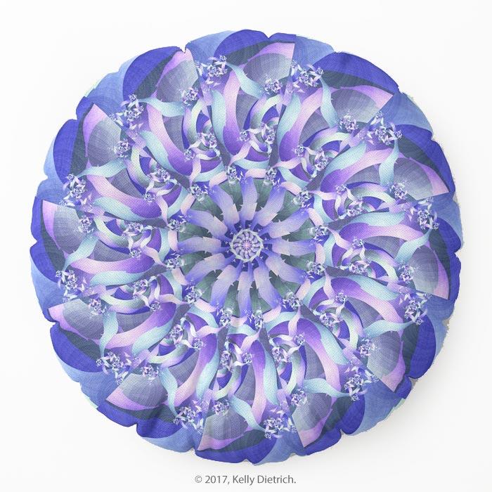 Fractal Mandala Round Floor Pillow