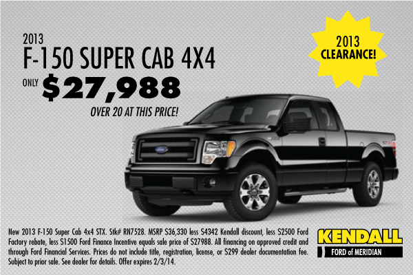 Ford F-150 SuperCab 4X4 STX Purchase Special Available at Kendall Ford