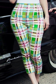 Plaid Cigarette Pants