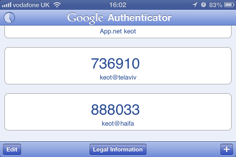 Google Authenticator on an iPhone