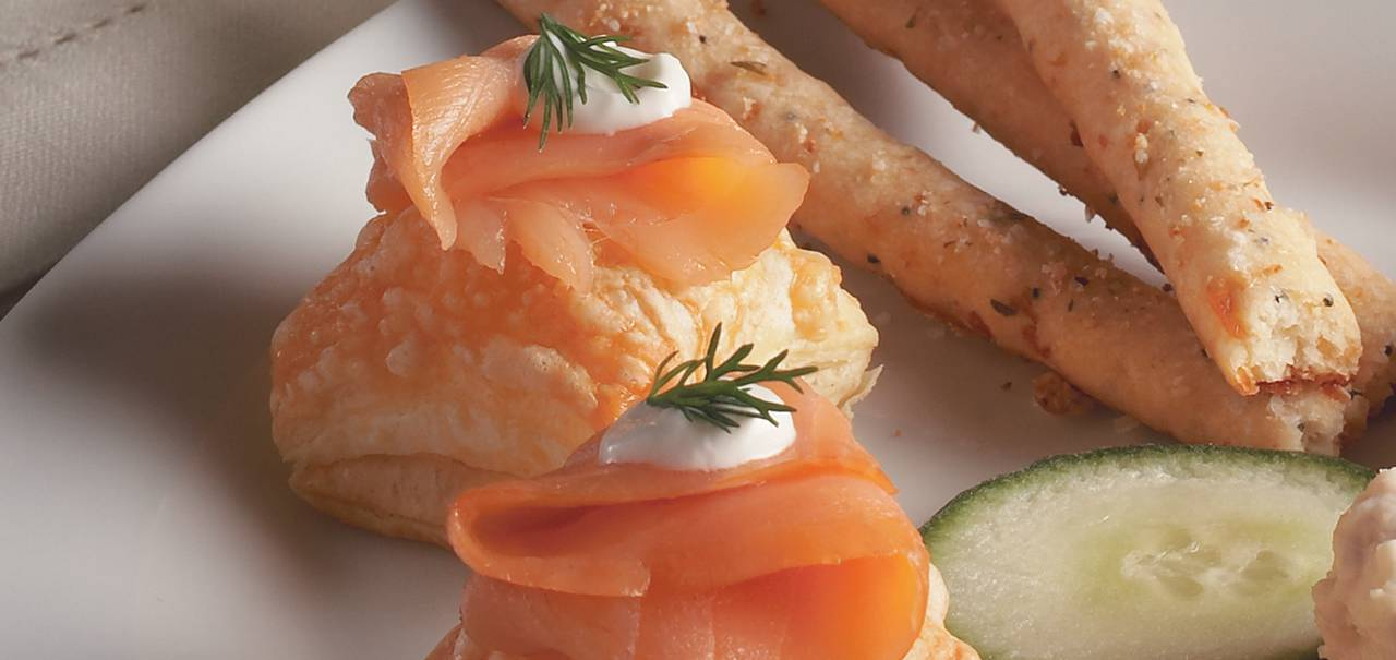 Salmon puffs with shredded dubliner cheese hero