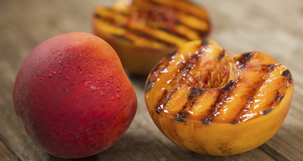 Grilled peaches with smoked brown sugar and rum butter