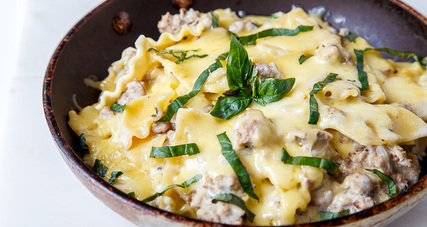 Skillet white lasagna for two with kerrygold blarney castle cheese