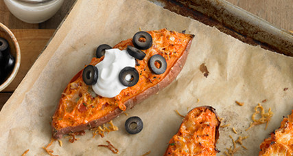 Twice baked sweet potatoes with reduced fat dubliner cheese thumbnail