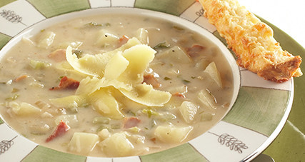 Potato chowder with pancetta and kerrygold aged cheddar cheese thumbnail