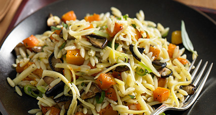 Warm orzo salad with butternut squash and kerrygold aged cheddar cheese thumbnail