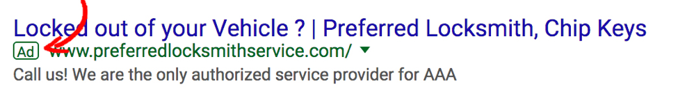 Locksmith Paid Search Ads