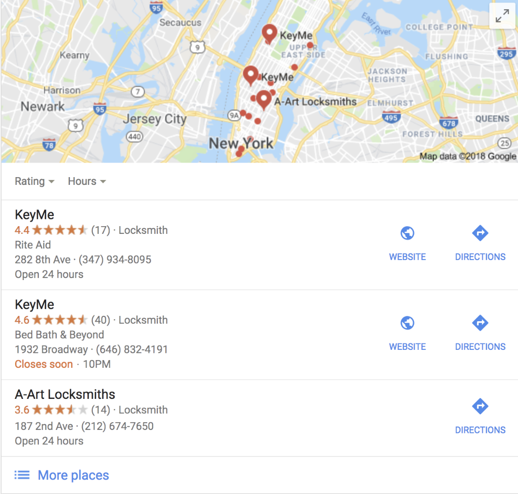 Find KeyMe local locksmiths with Google Local Pack
