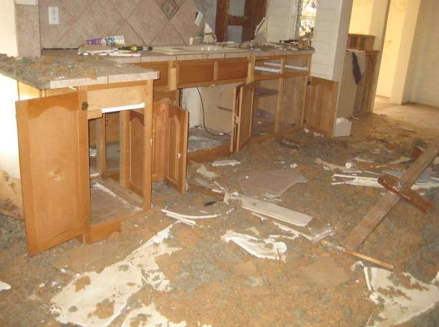 kitchen cabinets in a foreclosed house
