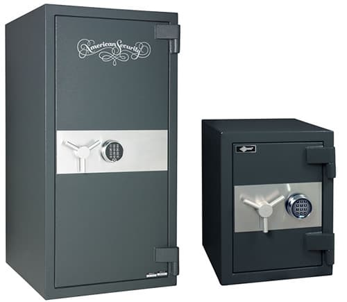 Photo of a large and small freestanding floor safes.