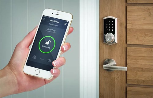 We can install wifi smart locks like this Kwikset model on any residential door.