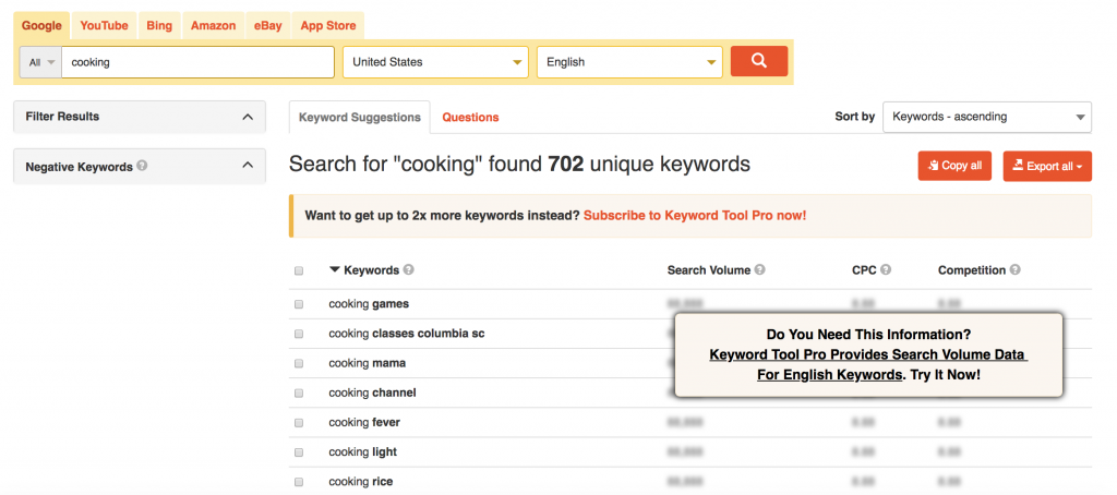 keyword tool autocomplete