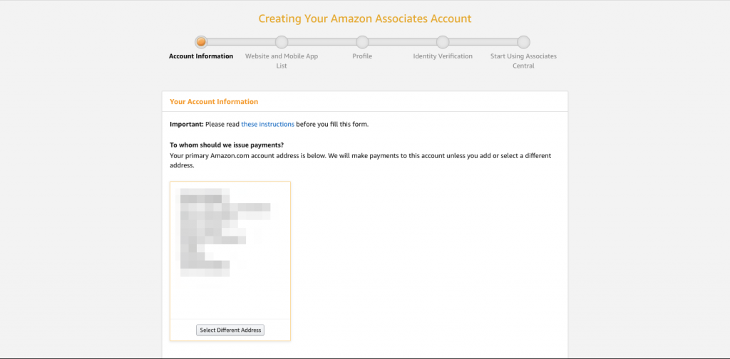 Account information page for Amazon Associates account