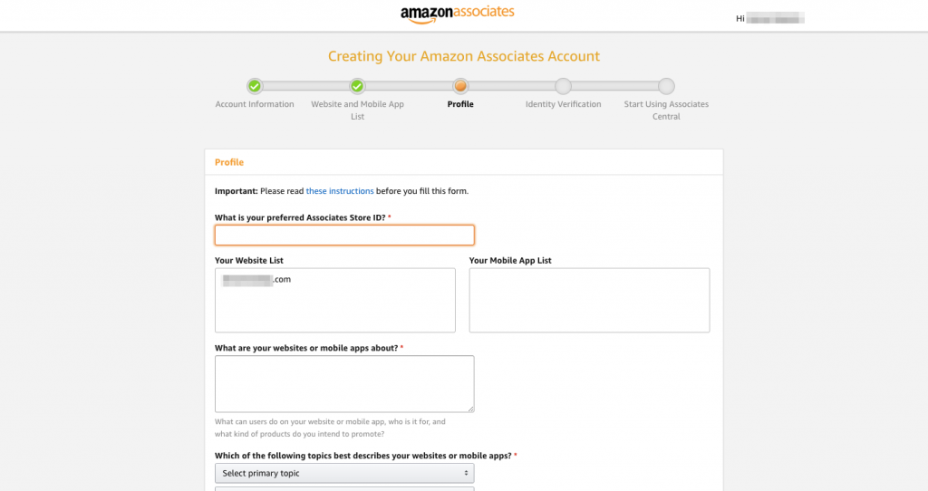 Profile page for Amazon affiliates