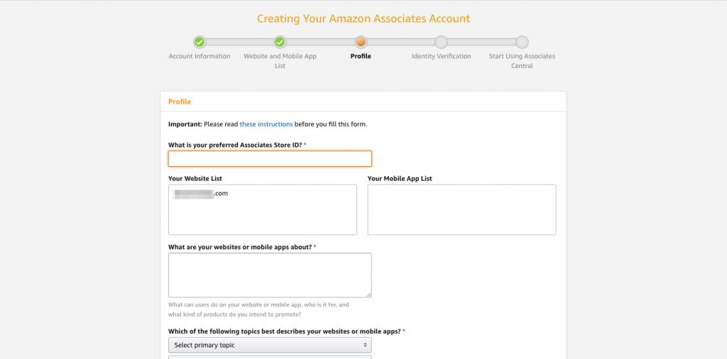 Profile page for Amazon affiliates