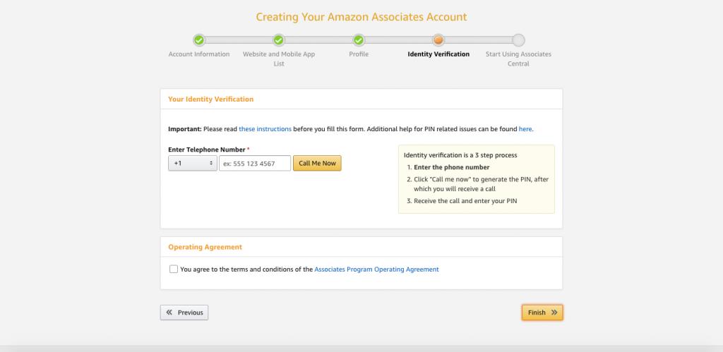 Identity Verification page for Amazon affiliates
