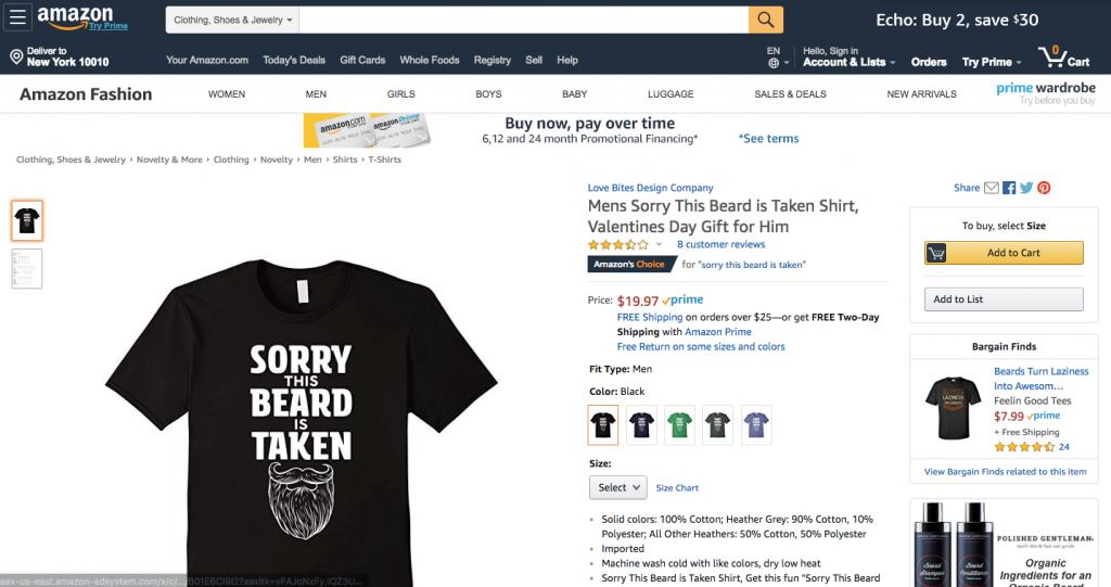 Amazon t-shirts sold through Amazon Merch