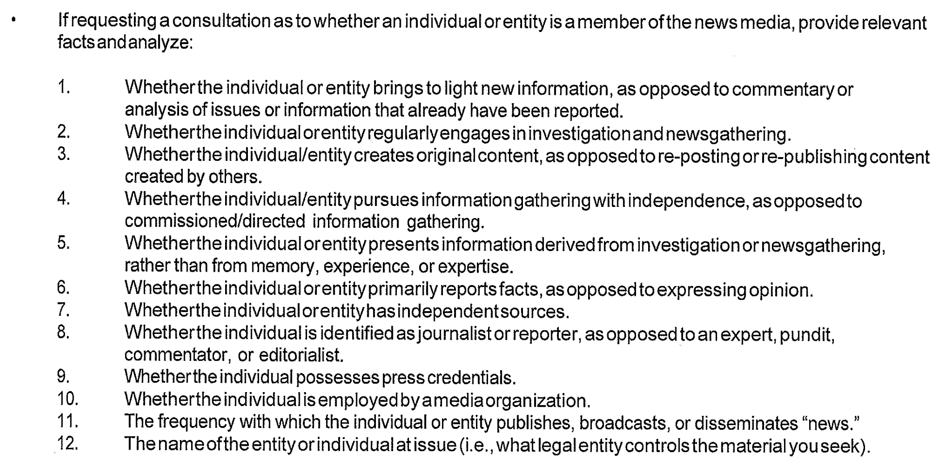 """List of 12 factors from unredacted """"News Media Policy Consultation"""" form"""