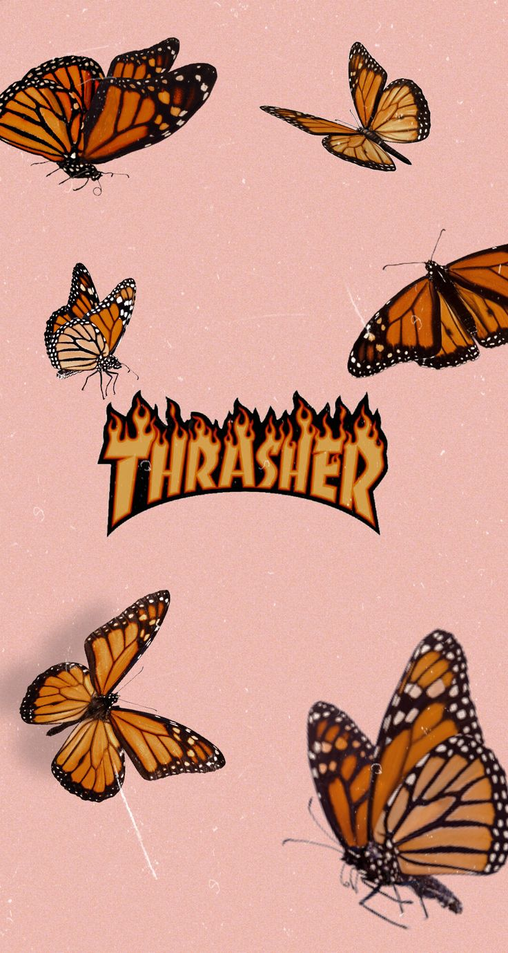 Thrasher Wallpaper For Iphone 90 S Aesthetic Butterflies Peach Aesthetic In 2020