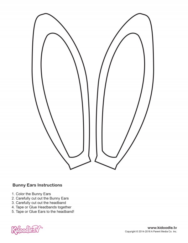 Get your easter coloring sheets here kidoodle tv for Bunny ears headband template