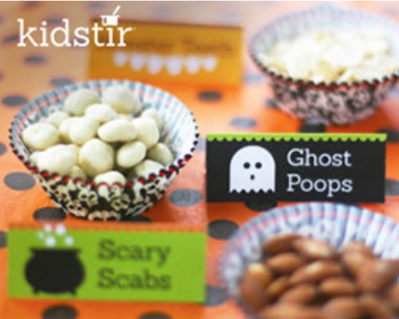 spooky halloween snacks table top tags