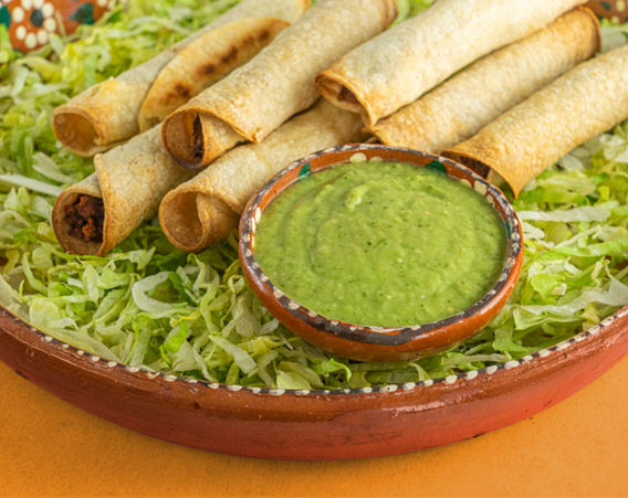 Photo of Avocado Tomatillo Salsa with Taquitos