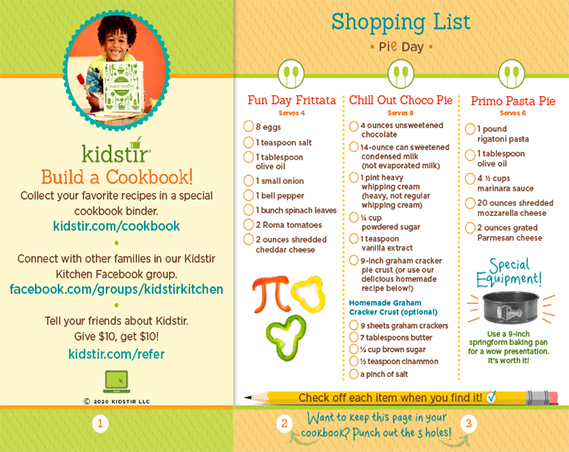 Pie Day Shopping List