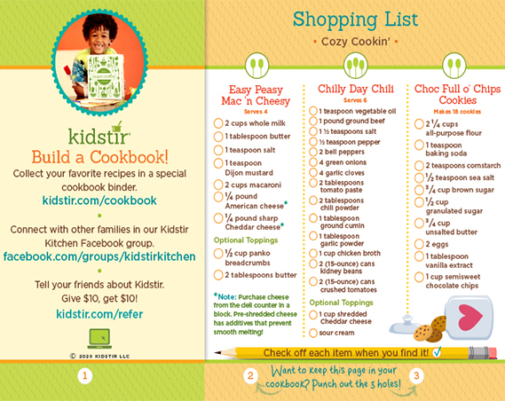 Cozy Cookin' Shopping List