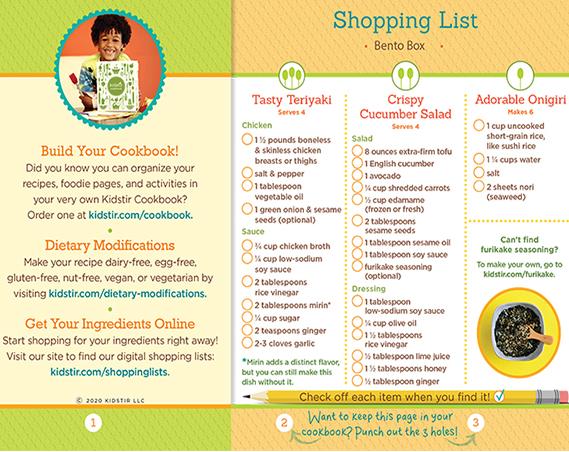 Bento Box Shopping List